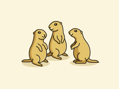 A Group of Prairie Dogs friendly happy cute fun funny stand standing team teamwork ui ux website landing page work workspace social group animal pet prairie dog flat color illustrative illustration