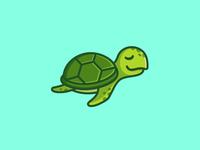 Sea Turtle - Opt 3 free freedom kid children sea ocean logo identity illustrative illustration reptile animal sticker shirt character mascot cute cartoon fun funny sea turtle smile happy