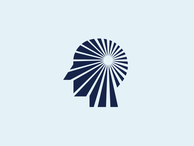 Head / Mind / Focus people mind life inspiration think success abstract shape psychology therapy rays light bright focus goal forward motion tunnel speed human head brand branding logo identity