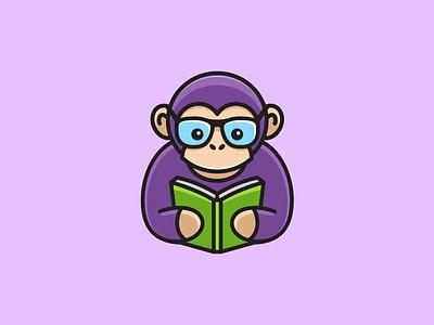 Monkey Reading - 02 glasses sunglasses geek nerd illustrative illustration cute fun funny monkey animal smart creative cartoon character brand branding logo identity read reading book learning school education