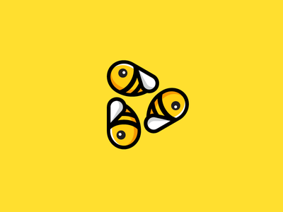 Bee + Play logo identity smart clever icon symbol play button video movie insect animal honey bee group colony character cartoon clean simple cute fun funny illustrative illustration