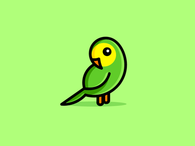 Parakeet character friendly logo identity brand branding cute fun funny bird animal new zealand flat color beautiful pretty illustrative illustration cartoon mascot nature zoo pet parakeet parrot