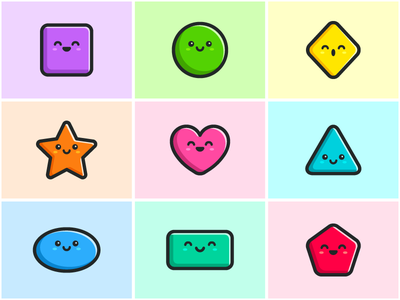 Basic Shapes ui ux icon happy character bright vibrant color colorful face expression cute fun simple geometric shape basic shapes child children game gaming apps application mobile app