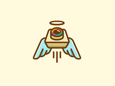 Camera + Angel vintage classic color colorful logo identity speed motion dynamic fun symbol mark charity donation fly flying wing wings snap portrait camera lens angel halo