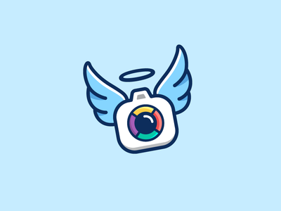 Camera + Angel - 02 angel halo camera lens snap portrait wing wings fly flying charity donation symbol mark dynamic fun speed motion logo identity color colorful modern blue