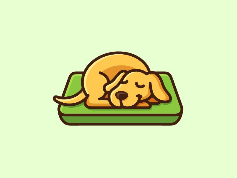 Sleeping Dog logo identity brand branding cute fun holiday dog animal bed mattress sleep sleeping adorable happy rest sleepy illustrative illustration cartoon mascot lazy weekend relax enjoy