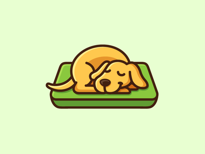 Sleeping Dog logo identity brand branding cute fun holiday dog animal bed mattress sleep sleeping adorable happy rest sleepy illustrative illustration cartoon mascot lazy weekend relax enjoy