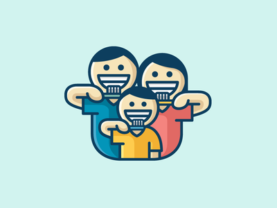 Family Brushing Teeth logo identity doctor dentist family dental tooth teeth cute fun friendly father mother son brush brushing toothbrush orthodontic soft feminine child children cartoon character smile people