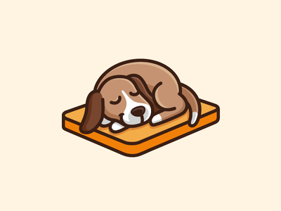 Sleeping Dog simple minimal lazy weekend cartoon mascot illustrative illustration rest sleepy adorable happy sleep sleeping bed mattress dog animal cute fun holiday brand branding logo identity