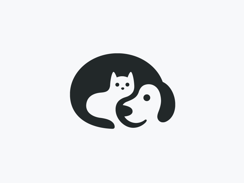 Dog & Cat nonprofit non-profit logo identity negative space smart creative animal pet puppy dog cat kitten cute fun funny clever hidden illustrative illustration donation shelter care love hug