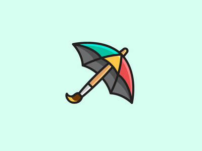 Umbrella + Paint Brush product collection simple smart rain raining bold outline art artwork symbol mark dynamic fun watercolor painting paint brush logo identity color colorful umbrella parasol