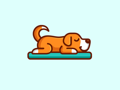 Sleeping Dog logo identity pet hotel cute fun holiday dog animal bed mattress sleep sleeping adorable happy rest sleepy illustrative illustration cartoon mascot lazy weekend simple minimal