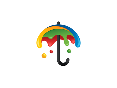 Umbrella + Dripping Paint umbrella parasol color colorful logo identity paint brush watercolor painting dynamic fun symbol mark art artwork bold outline rain raining water splash drip dripping