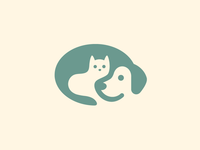 Dog & Cat - Revision care love hug nonprofit shelter illustrative illustration clever hidden cute fun funny cat kitten puppy dog animal pet smart creative negative space logo identity soft pastel