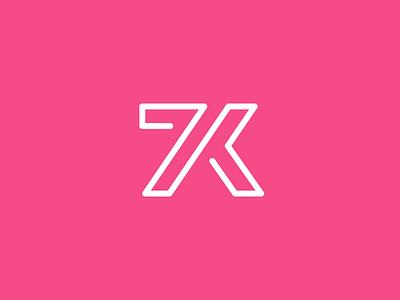 7K Followers! celebration happy initial number font treatment typography monogram lettering outline goal achievement designer milestone follow following dribbble follower 7k 7000 line monoline logo identity