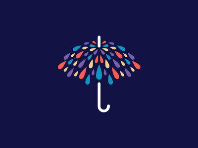 Umbrella & Rain - Opt 2 umbrella parasol color colorful logo identity paint brush watercolor painting dynamic fun symbol mark art artwork pattern texture rain raining water splash drip droplet