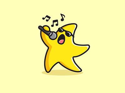 Singing Star music song happy joyful cartoon mascot illustrative illustration child children kids cute logo identity actor actress sunglasses yellow funny character shiny star sing singing