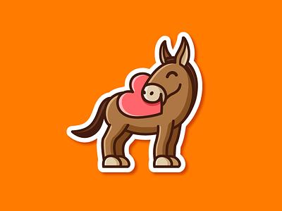 A Generous Mule love heart logo identity illustrative illustration charity donation stickermule giving sticker playoff dribbble rebound generous kind cute cartoon fun funny mule donkey character mascot