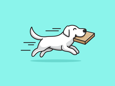 Shipping a Box dog puppy cute adorable golden retriever ui ux website box package happy animal ship shipping illustrative illustration character mascot pet shop run running deliver delivery
