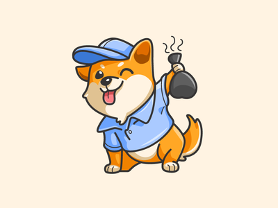 """""""Phew, it stinks!"""" ;) waste removal clean cleaning character mascot illustrative illustration naughty dog shiba inu friendly animal japan japanese poop bag bold outline cute adorable pet puppy"""