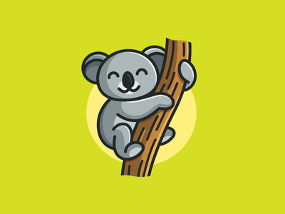 Koala zoo nature simple logo cute fun funny tree branch cartoon mascot illustrative illustration child children coloring book rest hang up happy character koala animal aussie australia