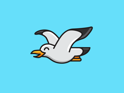 Seagull freedom animal bold outline logo identity bird character cute fun funny adorable happy child children illustrative illustration cartoon mascot fly flying sea water seagull seabird