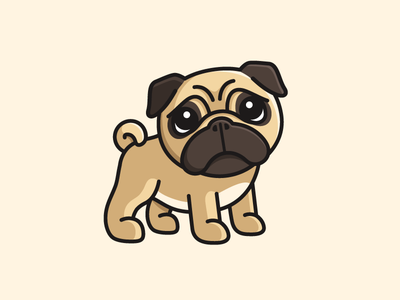 Pug face expression sincere eye sticker outline canine wrinkle adorable baby cute cartoon pug breed pet animal dog puppy illustrative illustration logo identity sad sadness