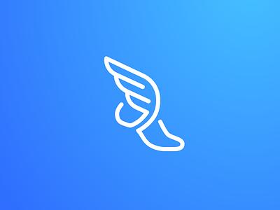 Hermes logo identity blue gradient speed motion fast sandal agile agility wing wings greek god simple outline line monoline dynamic fun symbol mark hermes shoe