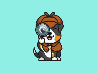 Extra Pose - Inspector aussy australia magnifying glass pet cartoon character mascot illustrative illustration friendly animal inspector sherlock detective investigation bold outline australian shepherd cute adorable dog puppy