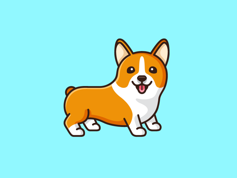 Corgi pembroke welsh friendly mascot animal character logo illustration corgi dog child kids cartoon comic clothing apparel t-shirt shirt fun funny cute adorable pet puppy