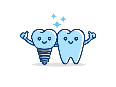 Dental Implant child kids cute fun funny clean white friends partner smile smiling friendly mascot cartoon character clinic doctor tooth teeth dental implant illustrative illustration logo identity