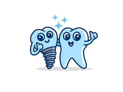 Dental Implant - Opt 2 logo identity illustrative illustration dental implant tooth teeth clinic doctor cartoon character friendly mascot smile smiling friends partner clean white cute fun funny child kids