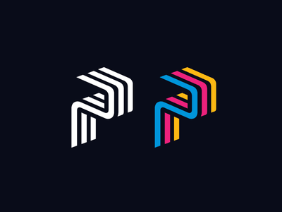 P for Printing monogram symbol abstract ink minimalist modern clean simple isometric 3d p initial letter flow motion cmyk colorful offset paper print printing brand branding logo identity
