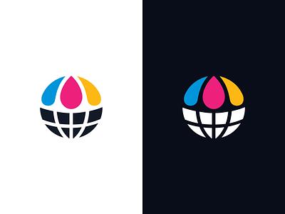 Globe + Inks logo identity circle circular print printing offset tint cmyk colorful splash droplet smart idea world planet clean simple earth globe abstract ink icon symbol