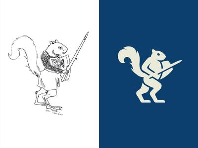 Logo Redesign black white monochrome color silhouette gestalt animal pet squirrel tail game gaming warrior knight sword shield illustrative illustration stand standing logo redesign mark symbol