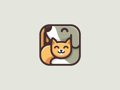 Dog & Cat - Option 2 happy smile ui ux application logo identity square rounded animal pet puppy dog cat kitten cute fun funny geometry geometric illustrative illustration mobile app care love hug