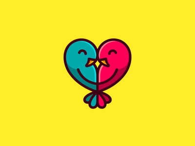 Lovebirds mirror logo bright vibrant smart clever mark symbol geometry symmetry heart love parrot dating animal bird comic cartoon children kids cute fun funny illustrative illustration