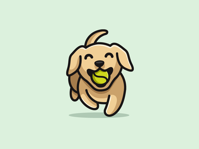 Dog & Tennis Ball simple clean cartoon mascot illustrative illustration sport running tennis ball adorable happy golden retriever puppy jumping dog animal cute fun funny pet walking logo identity