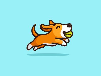 Dog & Tennis Ball - 02 logo identity pet walking cute fun funny dog animal puppy jumping leap leaping adorable happy tennis ball sport running illustrative illustration cartoon mascot simple clean