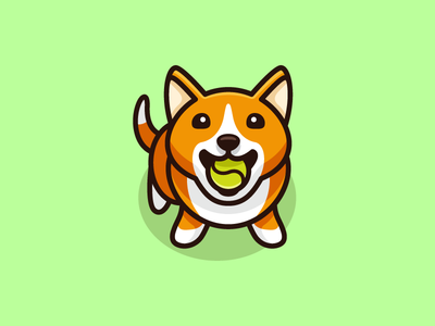 Dog & Tennis Ball - 03 perspective angle friendly smile cartoon mascot illustrative illustration sport play tennis ball adorable happy puppy corgi dog animal cute fun funny pet sitting logo identity