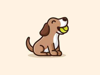 Dog & Tennis Ball - 04 child children cartoon mascot illustrative illustration sport running tennis ball adorable happy beagle breed puppy sit dog animal cute fun funny pet sitting logo identity