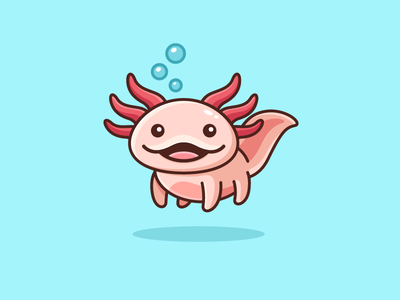 Axolotl float floating friendly smile mexico aquarium cute adorable water animal swim swimming mexican salamander axolotl fish illustrative illustration character mascot brand branding logo identity