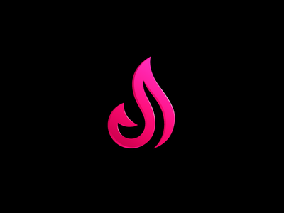 J / Fire / Abstract depth 3d logo identity casual dating mobile app relationship love gradient pink elegant elegance flame fire initial name j monogram abstract shape icon symbol