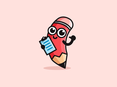 Pencil write writing eraser stationery draw drawing logo identity brand branding illustrative illustration clipboard design face expression pencil survey cartoon comic mascot character friendly fun
