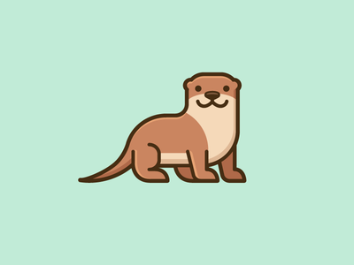 Otter - Opt 1 modern neat geometry geometric nature zoo cartoon mascot illustrative illustration flat color europe europian river otter cute fun simple brand branding logo identity character friendly
