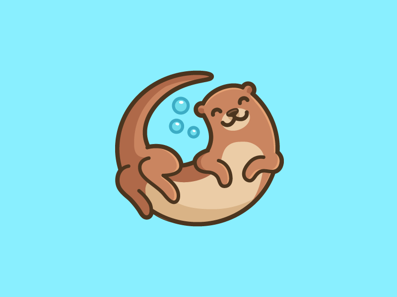 Swimming Otter happy smile character friendly logo identity brand branding cute simple river otter under water illustrative illustration cartoon mascot swim swimming circle circular playful fun