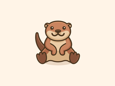 Otter - Opt 3 adorable puppet minimal simple geometry symmetry cartoon mascot illustrative illustration sit sitting river otter cute simple brand branding logo identity character friendly happy smile