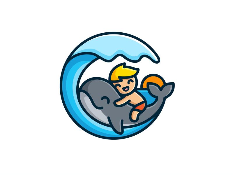 Kid and Whale non-profit wave splash swim water child children kid boy love care animal symbol ocean sea whale fish cute fun happy brand branding logo identity