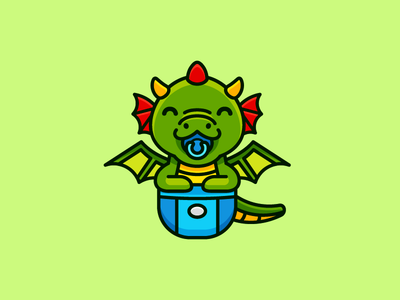 Baby Dragon little baby dragon mythology china animal creature beast cute adorable happy smile pacifier carrier logo identity illustrative illustration mascot character video game mobile app
