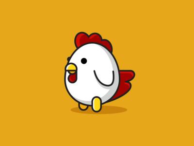 Chicken beak comb hen bird symbol icon cartoon cartoony egg oval cute fun simple minimalist animal chicken rooster character mascot geometry geometric illustrative illustration logo identity
